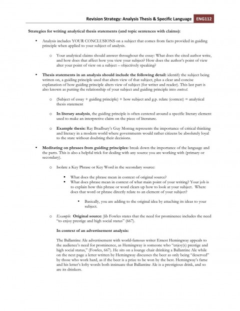 006 Strategiesforwritinganalyticalthesisstatements Essay Example Phenomenal Eslrs 480