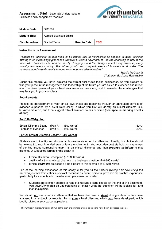 011 Ethical Dilemma Essay Example ~ Thatsnotus