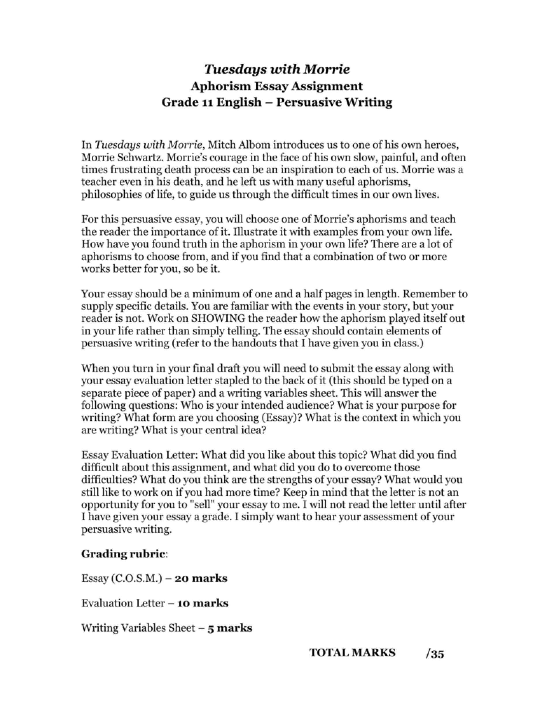 006 Tuesdays With Morrie Essay 008907930 1 Striking Topics Writing Prompts Paper 1920