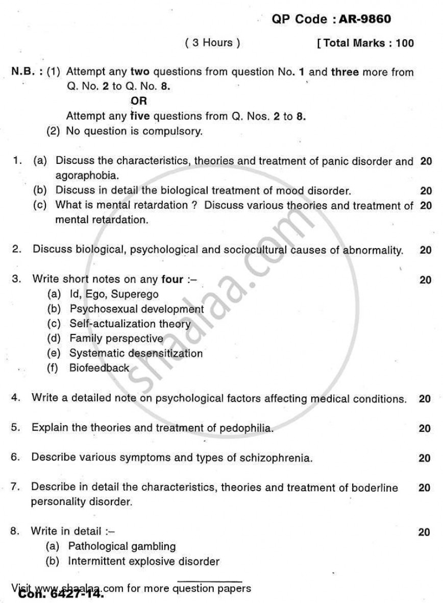 006 University Of Mumbai Bachelor Abnormal Psychology Ty Yearly Pattern 3rd Year Tyba 2013 22439940333094318a79686c42f8b6c1c Essay Example Unforgettable Topics Forensic Term Paper Argumentative Questions On Memory