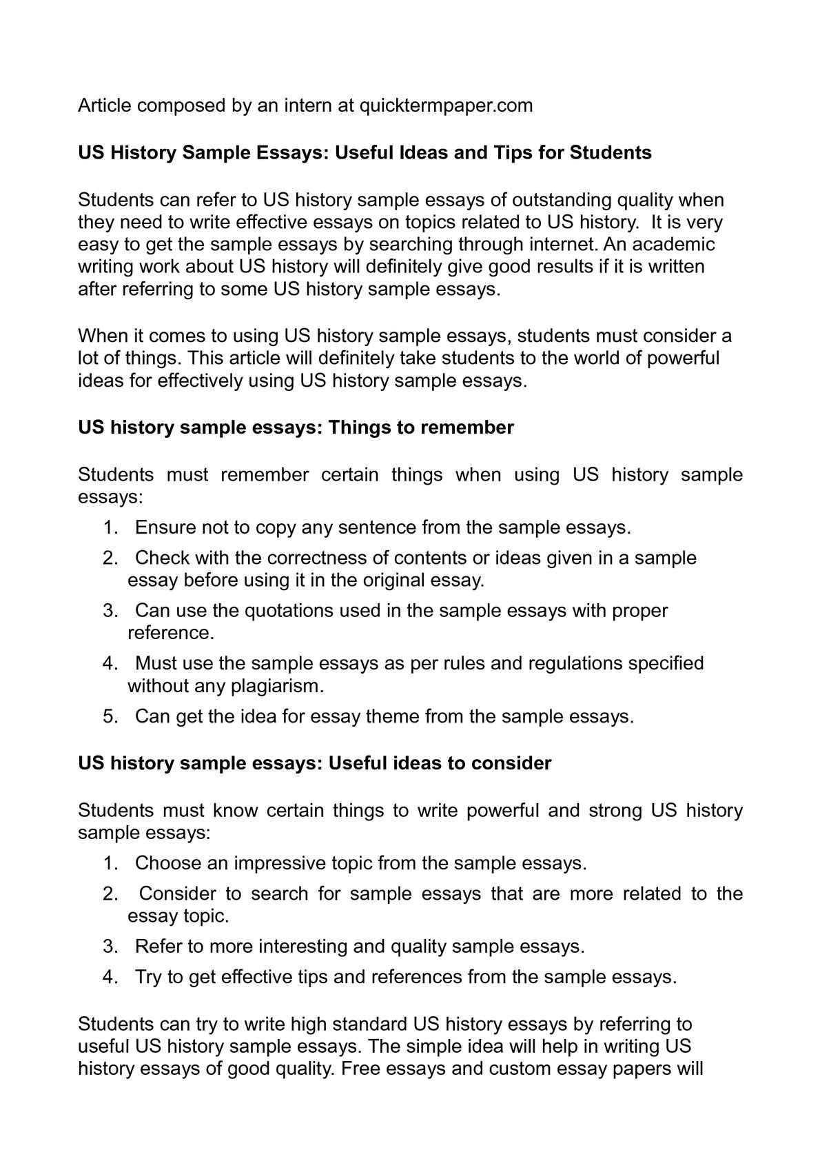 Us history regents essay help