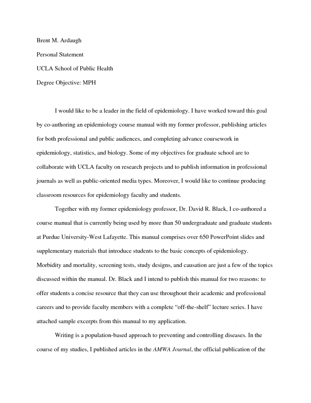 006 Vcu Personal Statement Essay Example Application Department Of Occupational Therapy Tradition Ucla Template Sqy College Prompts Remarkable Full
