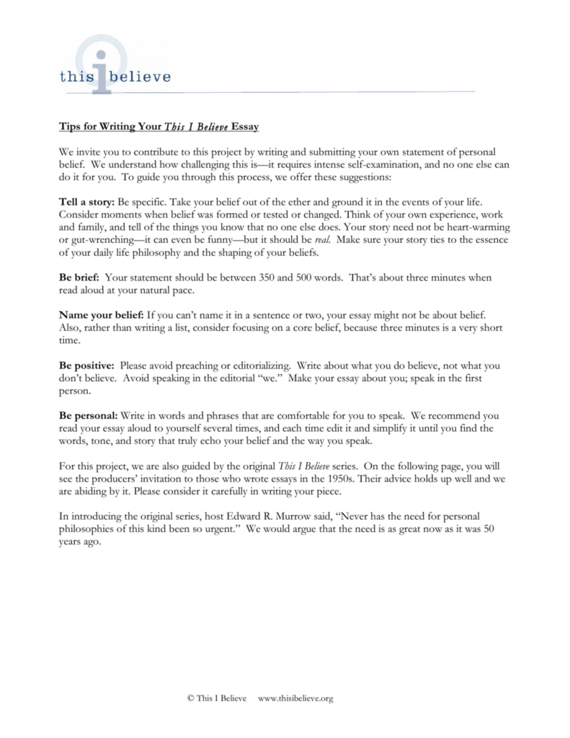 006 We Do Your Essay Example Tips For Writing This I Believe Invite You To Contribute Write 008807221 1 Outstanding Reviews 1920