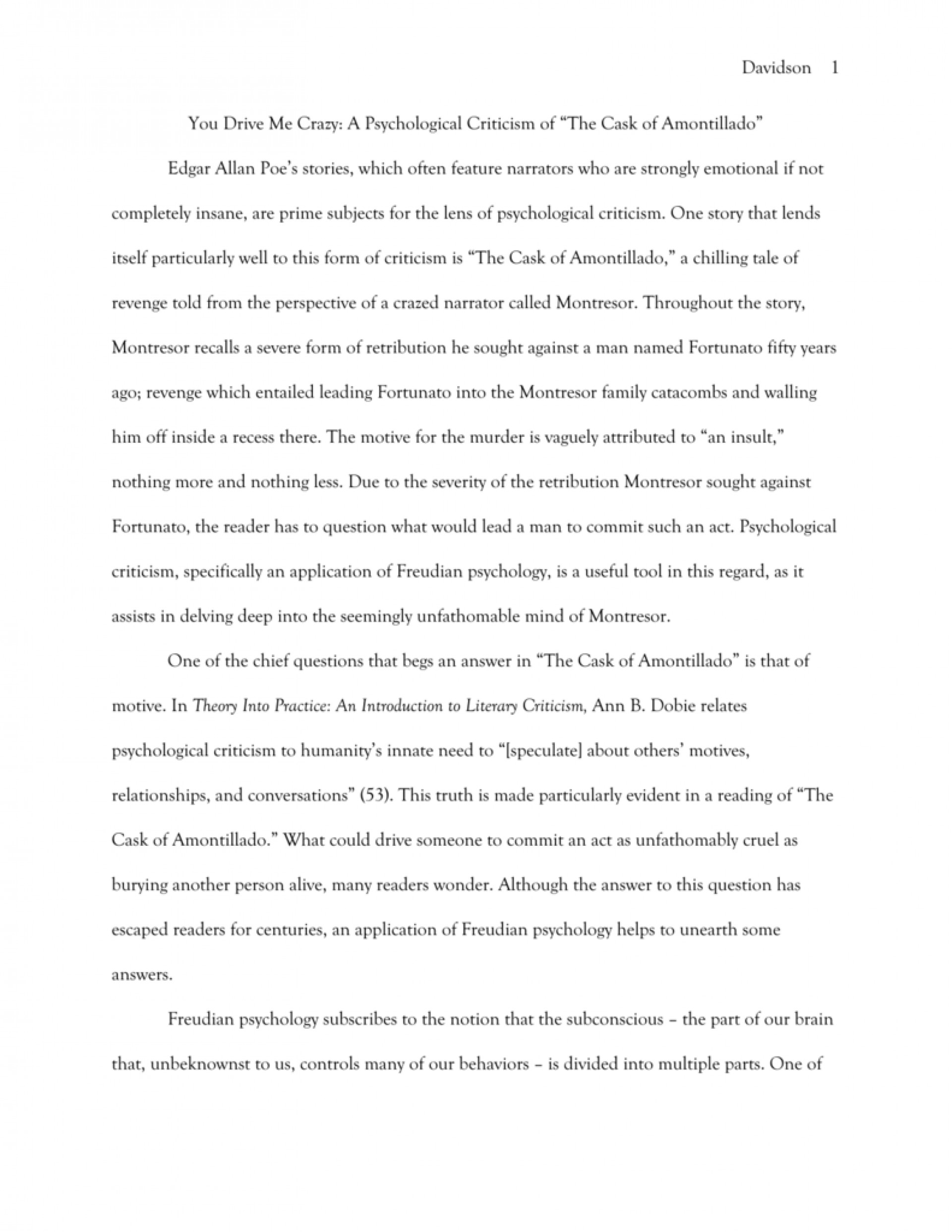 007 008304087 1 Essay Example The Cask Of Unforgettable Amontillado Outline Prompts Topics 1920