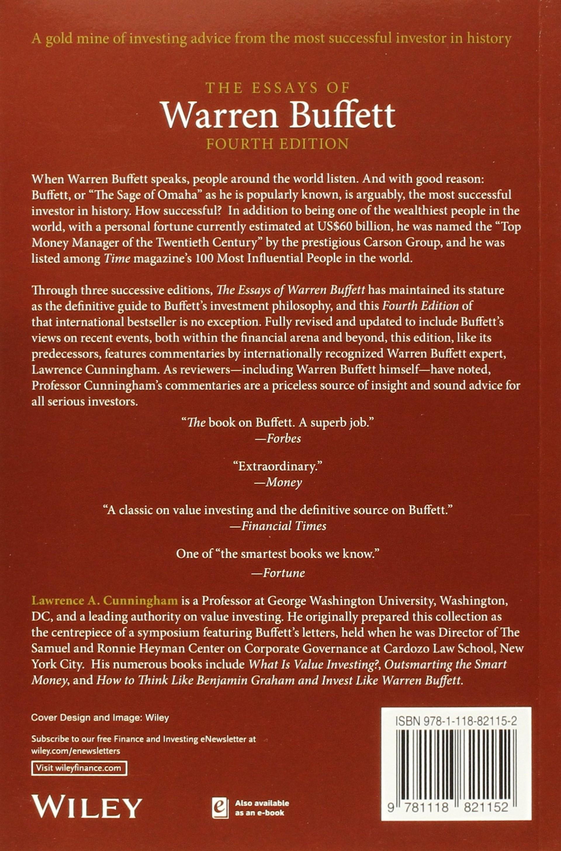 007 91viw96oq0l Die Essays Von Warren Buffett Essay Archaicawful Das Buch Für Investoren Pdf Und Unternehmer 1920