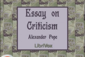 007 Alexander Pope Essay On Criticism Example Outstanding Part 1 Analysis Summary