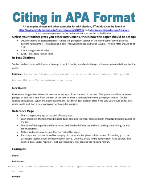 007 Apa Essay Format Example Rare References Examples Style Research Paper 6th Edition Title Page 480