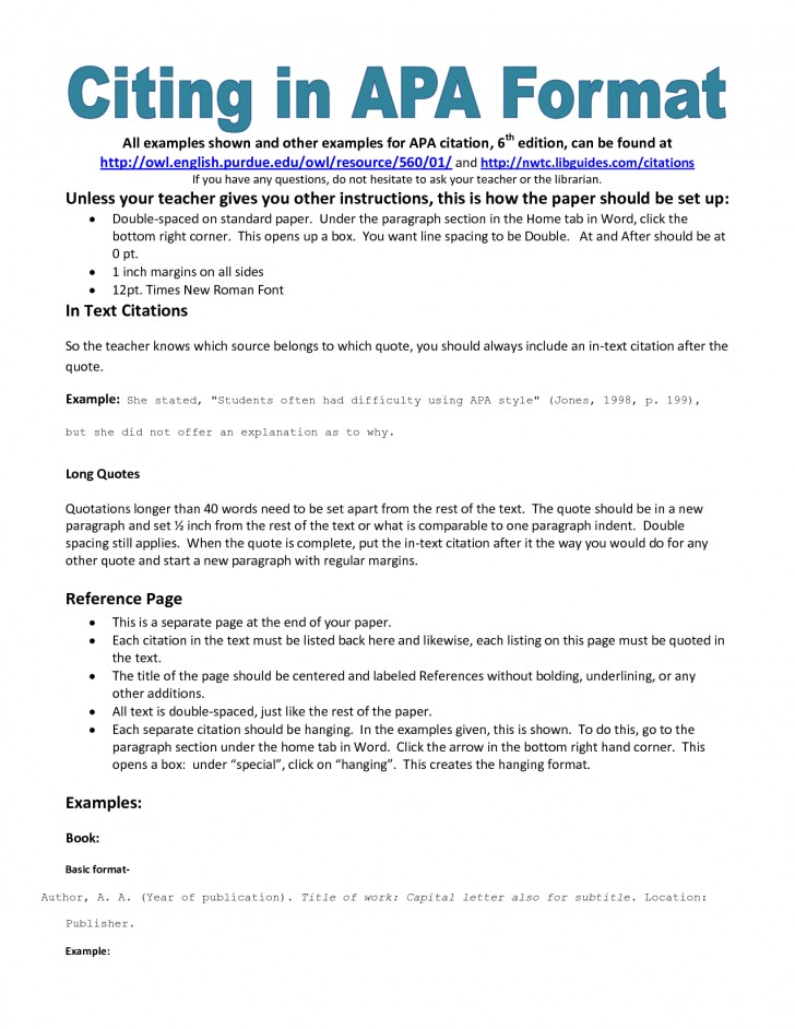 007 Apa Essay Format Example Rare References Examples Style Research Paper 6th Edition Title Page 728