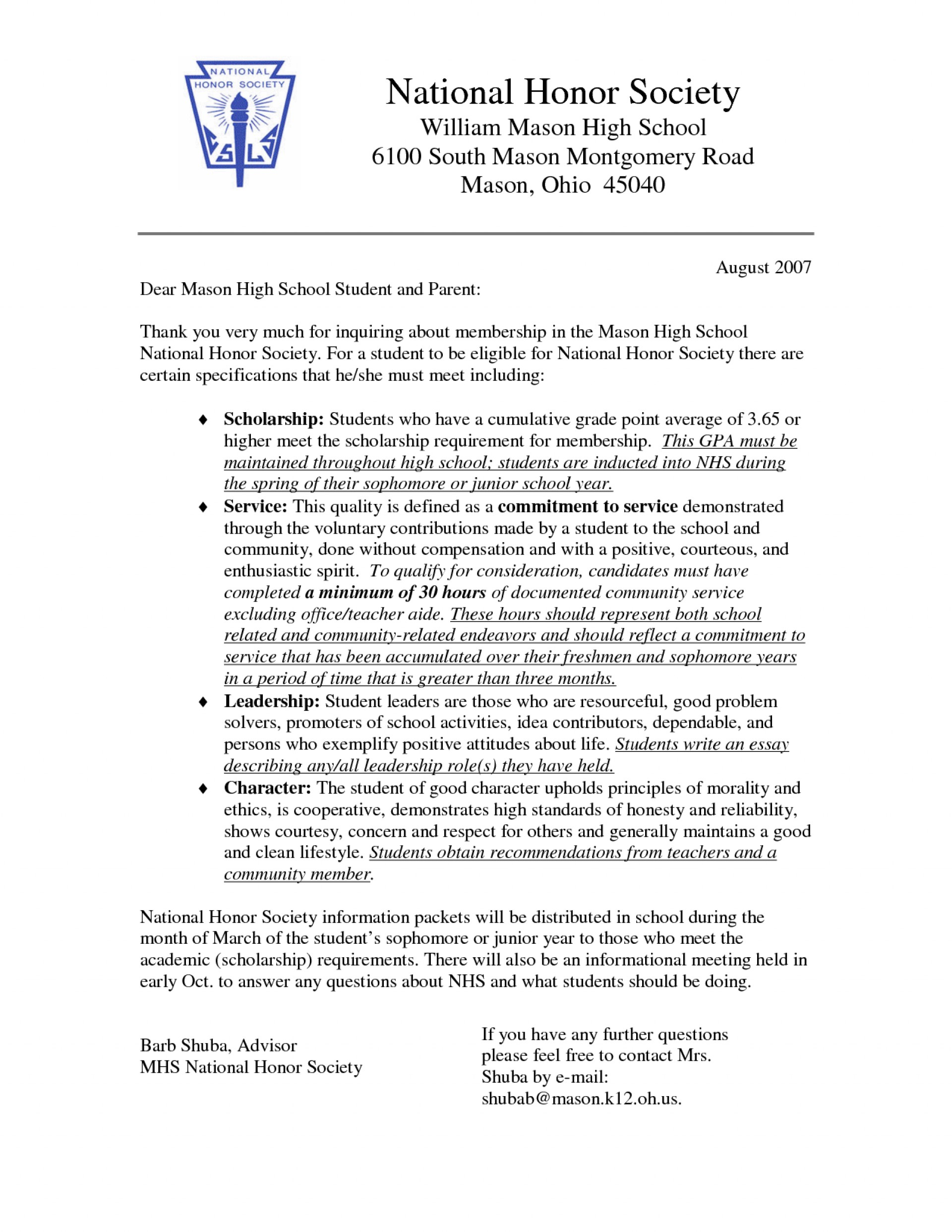 007 Best Solutions Of Sample Recommendation Letter For High School National Honor Society Also Format Layout