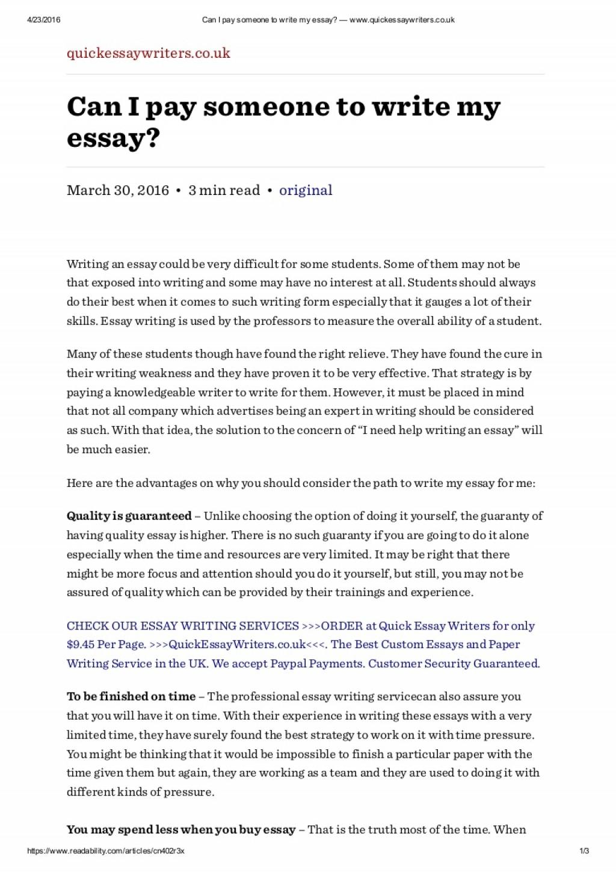 007 Canipaysomeonetowritemyessaywww Thumbnail Essay Example Pay Someone To Write Phenomenal My Should I Uk Paid Large