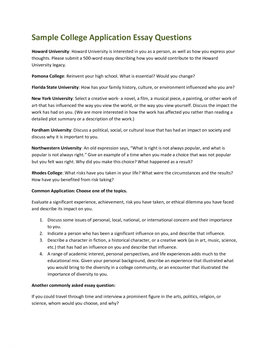 007 College Admission Essay Rare Prompts Format Examples Ivy League Full