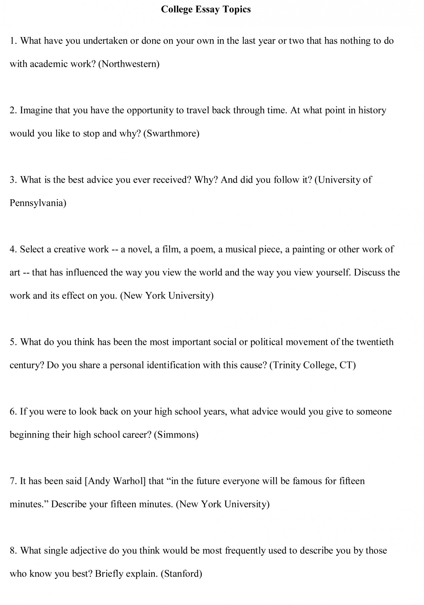 007 College Essay Topics Free Sample1 Good Best For Middle School Argumentative The Great Gatsby Persuasive 8th Graders 1400