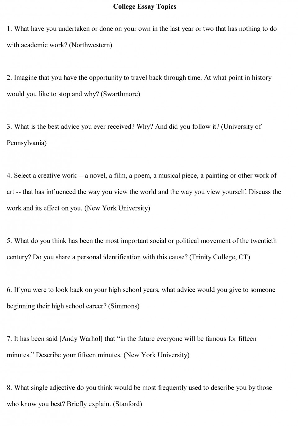 007 College Essay Topics Free Sample1 Good Best For Middle School Argumentative The Great Gatsby Persuasive 8th Graders 960