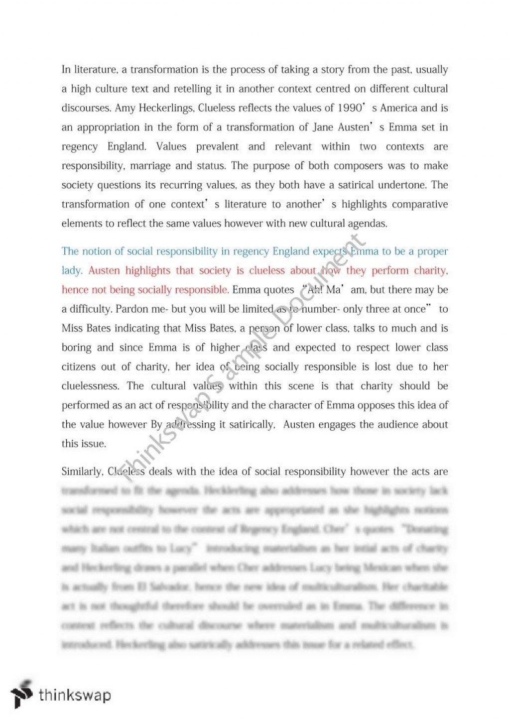 007 Comparative Essays Essay Example 20085 Emma V Clueless Fadded11 Sensational Sample Of On Poems Vce The Crucible And Year Wonders Large