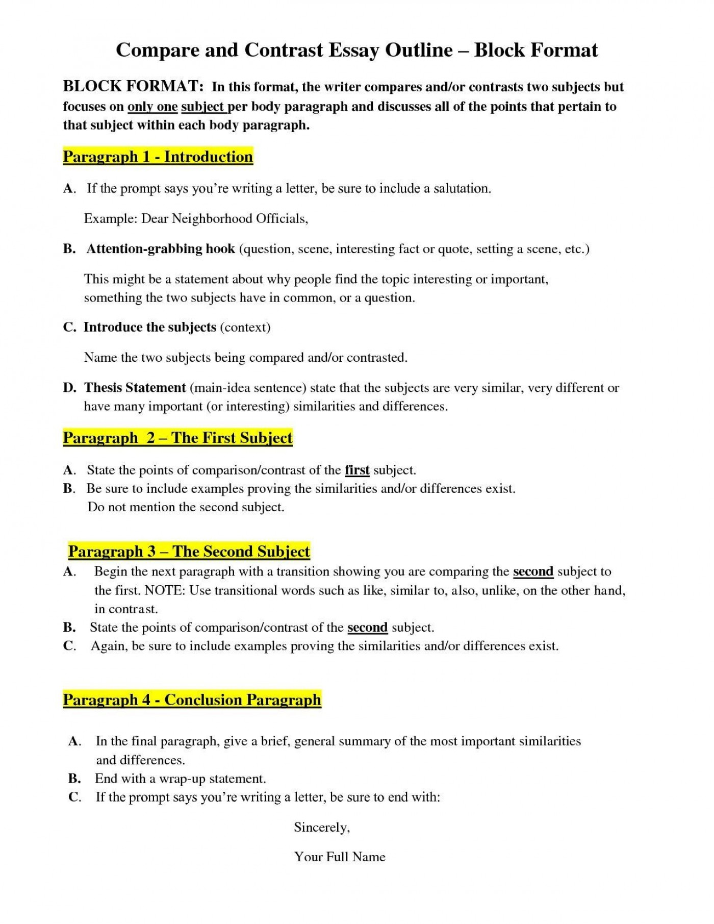 007 Compare And Contrast Essay Frightening Outline Block Method Ideas High School Template For Middle 1400