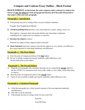 007 Compare And Contrast Essay Frightening Outline Block Method Ideas High School Template For Middle 360