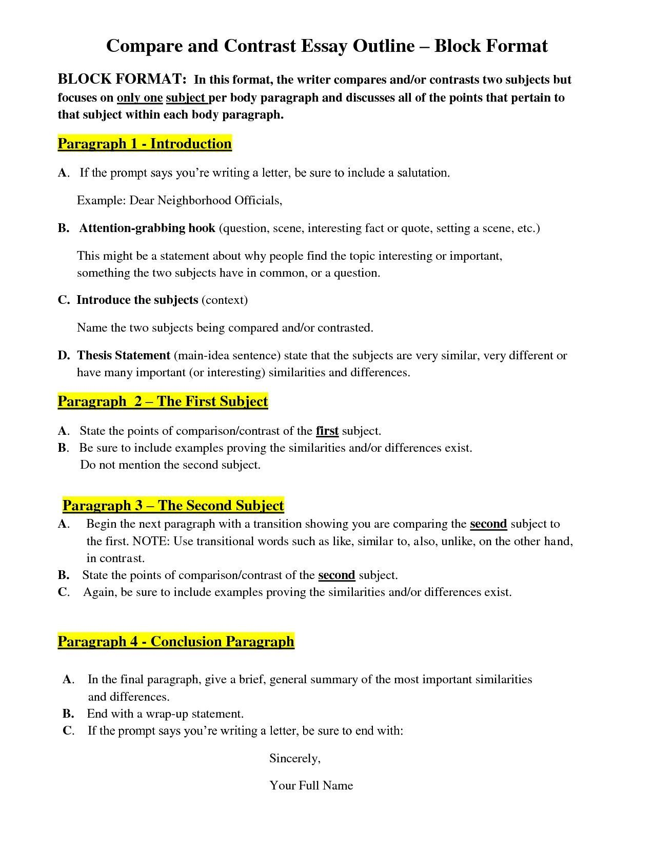 007 Compare And Contrast Essay Frightening Outline Block Method Ideas High School Template For Middle Full