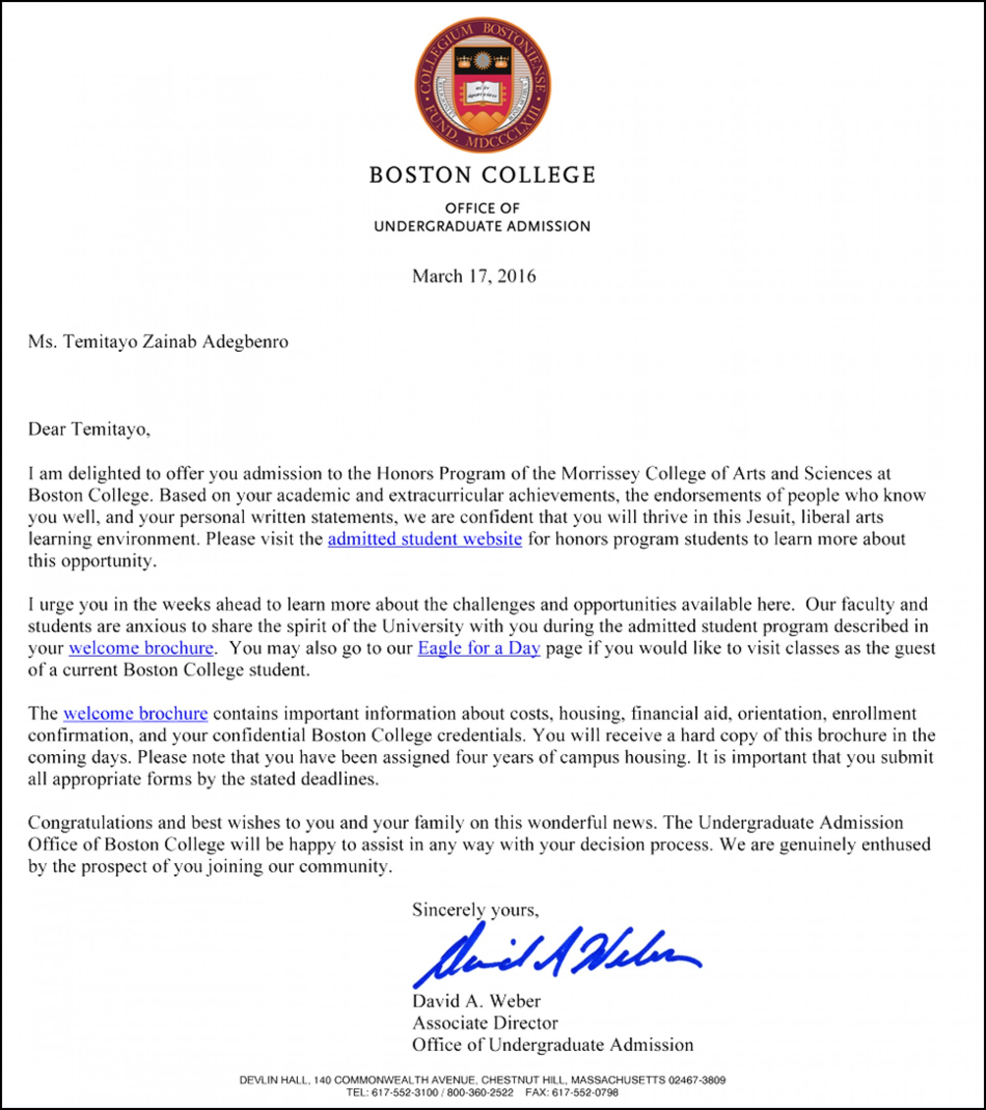 does boston college track demonstrated interest