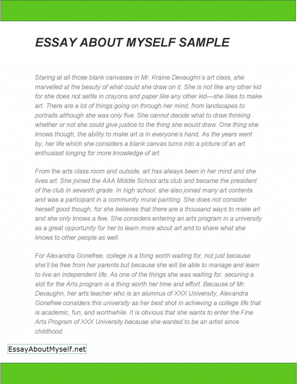 007 Essay About Myself Sample Example Self Wonderful Introduction Pdf For Job University Large
