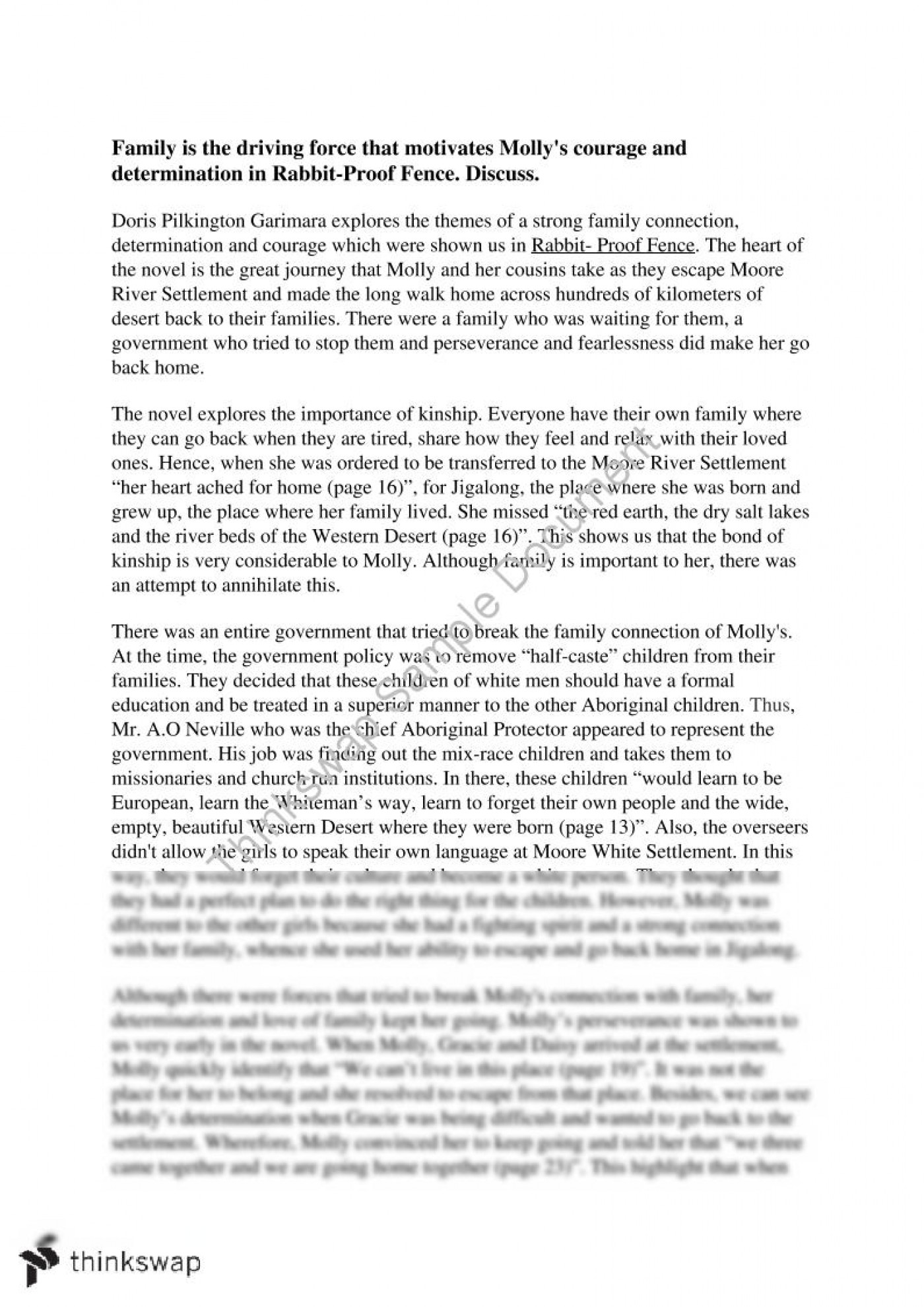 007 Essay Example 96427 Textresponseealcore Docx Fadded41 Rabbit Proof Fence Film Top Review 1400