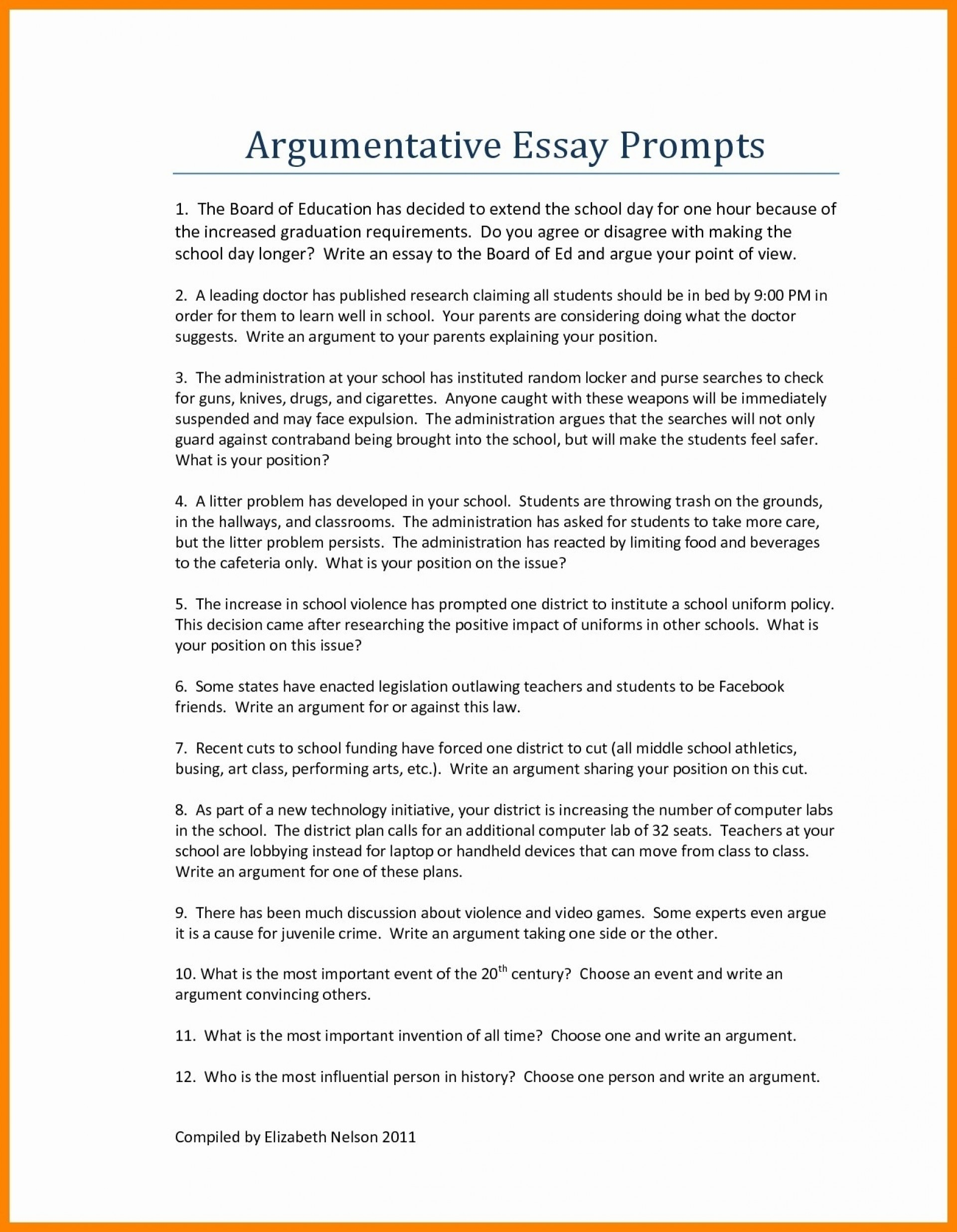 Striking Argumentative Essay Examples For High School ~ Thatsnotus