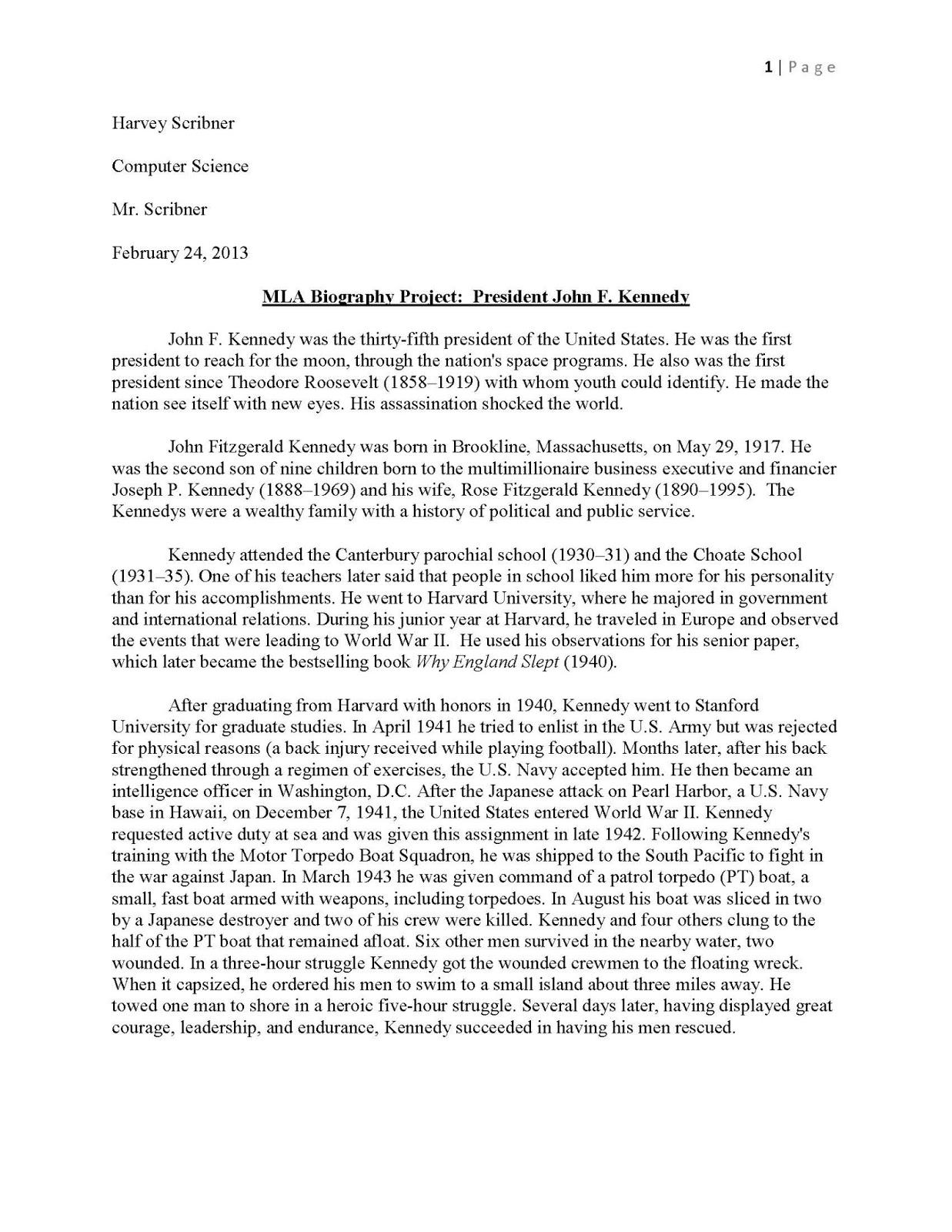 007 Essay Example Biography Jfkmlashortformbiographyreportexample Page 1 Impressive Conclusion Examples College Titles Full