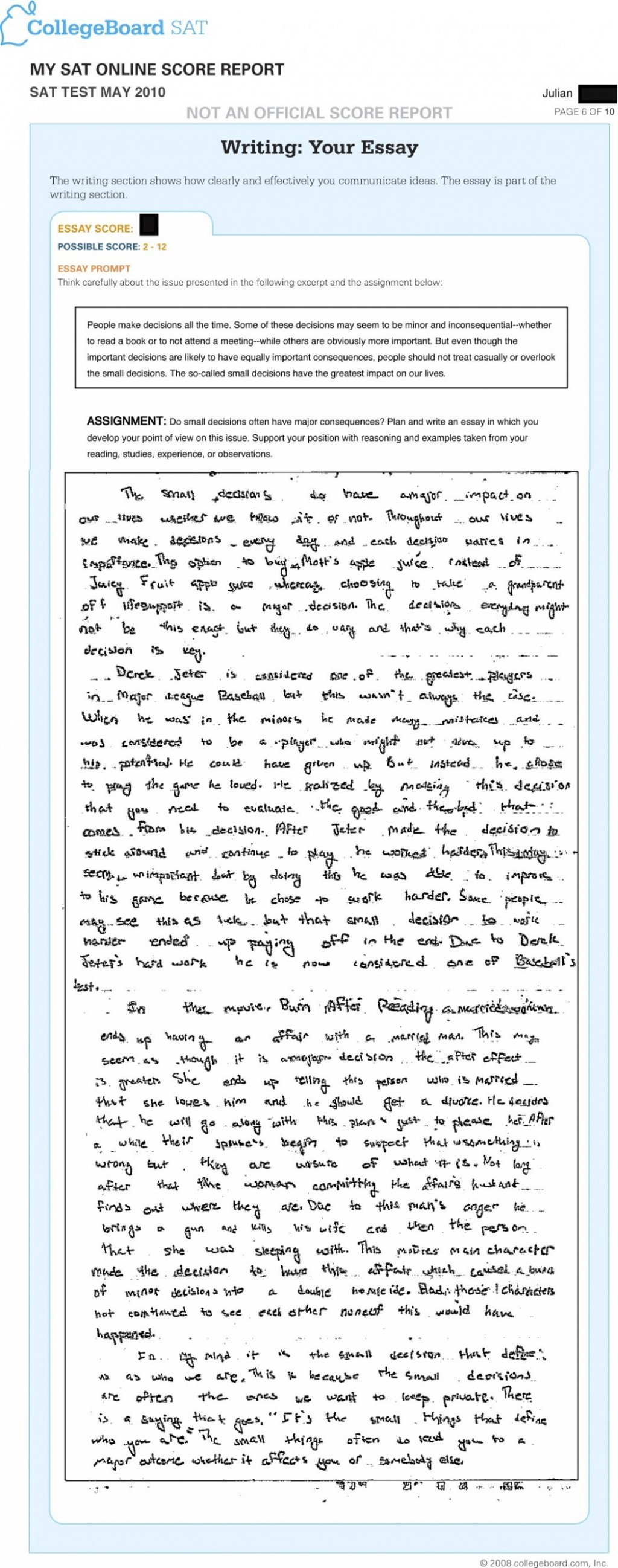 007 Essay Example Does The Sat Affect Your Score Scoring What Is Out Of Writing How To Write Good Introduction Jr May Really Intro Perfect Conclusion Stupendous 2016 Large