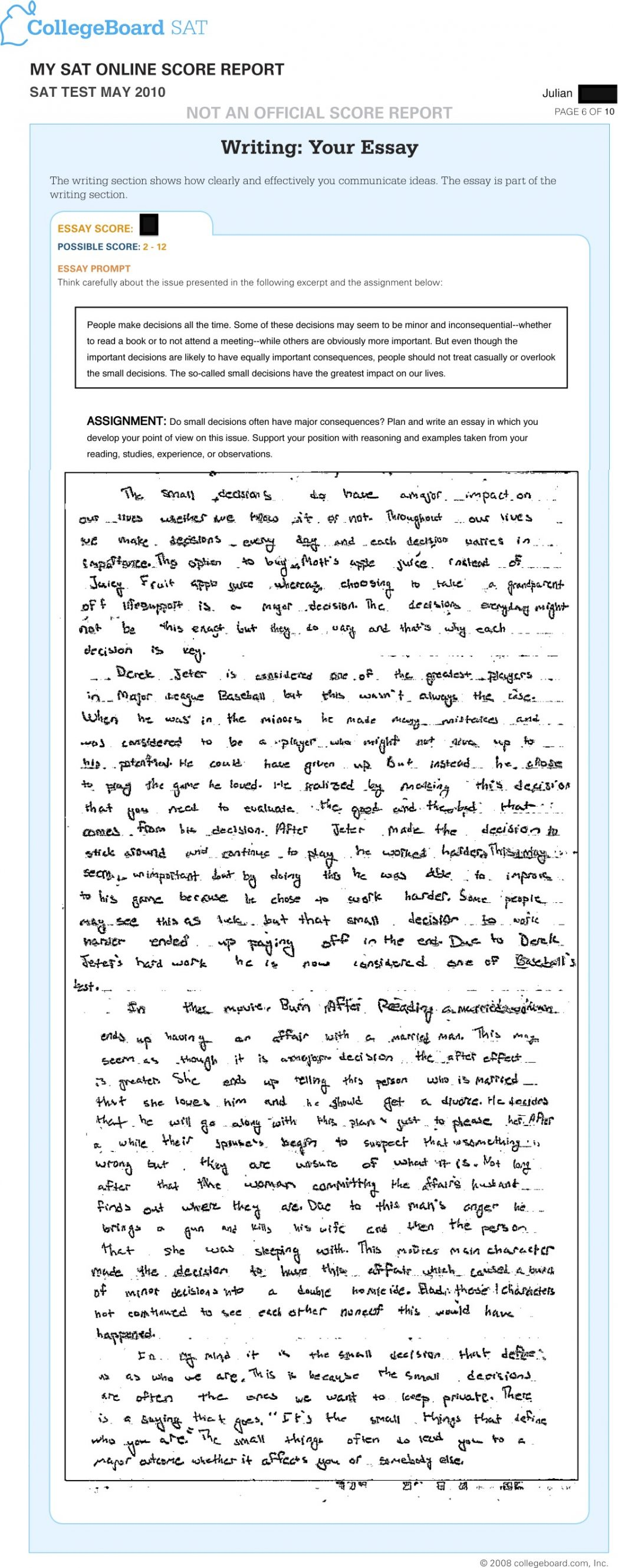 007 Essay Example Does The Sat Affect Your Score Scoring What Is Out Of Writing How To Write Good Introduction Jr May Really Intro Perfect Conclusion Stupendous 2016 Full