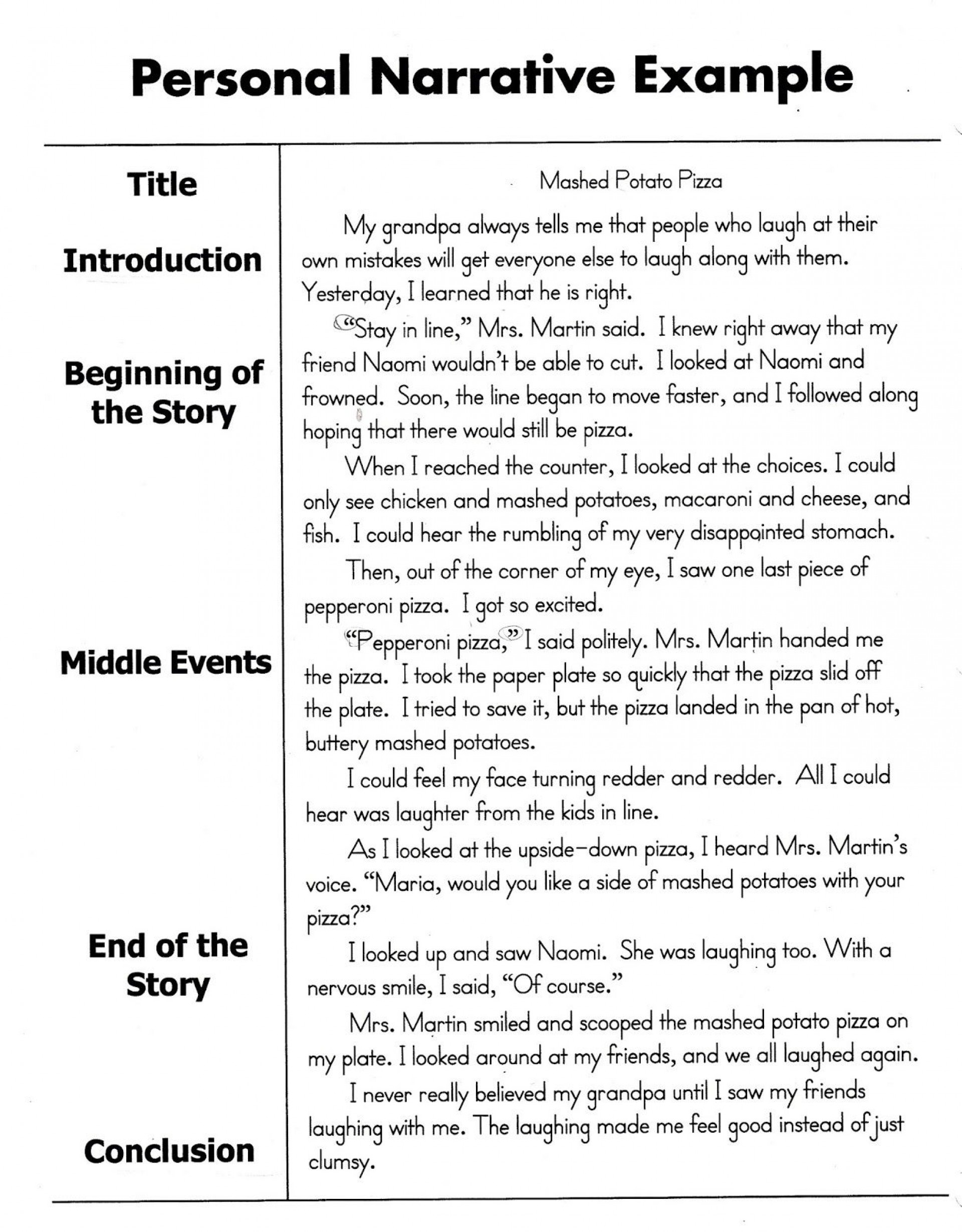 007 Essay Example Examples Of Narrative Rare Essays Personal Middle School About Experience Pdf Yourself 1920