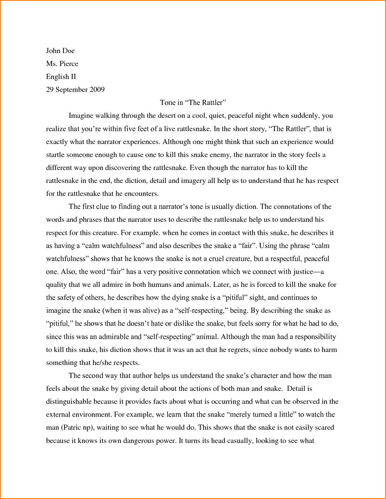 Essay format example for high school