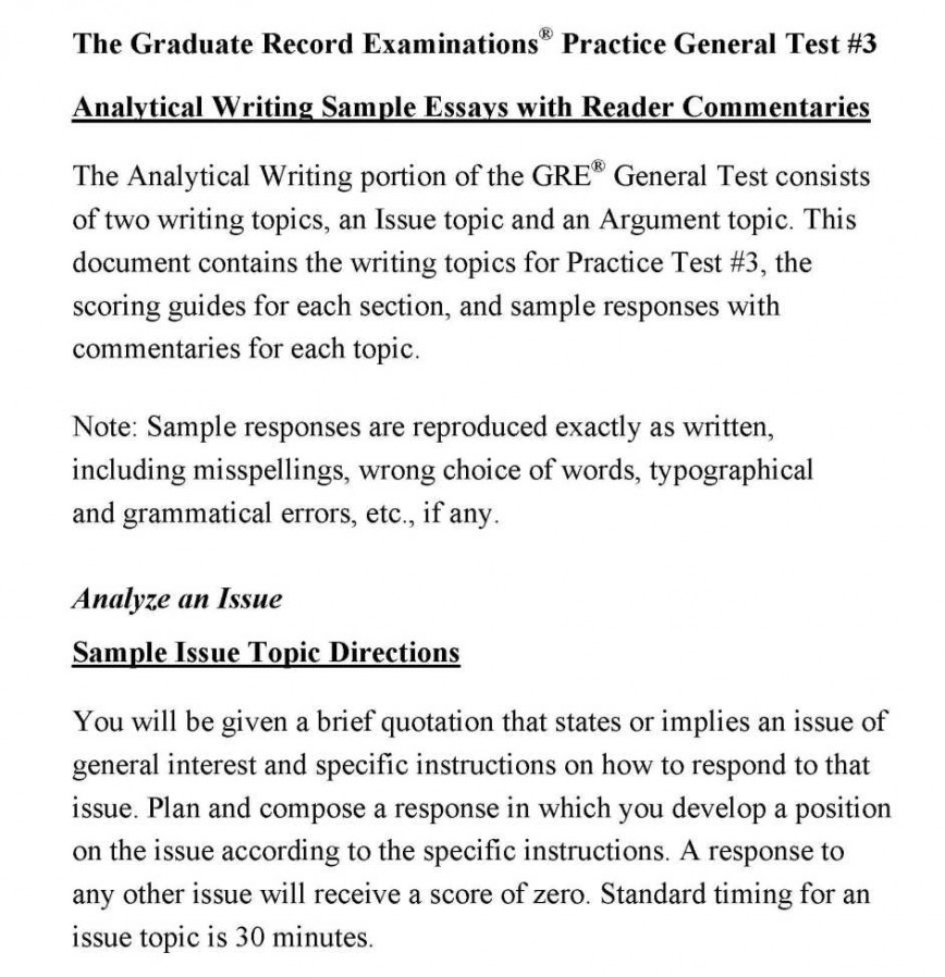 007 Essay Example How To Write Gre Analytical Writing Samples Stunning A Issue Great Essays 868