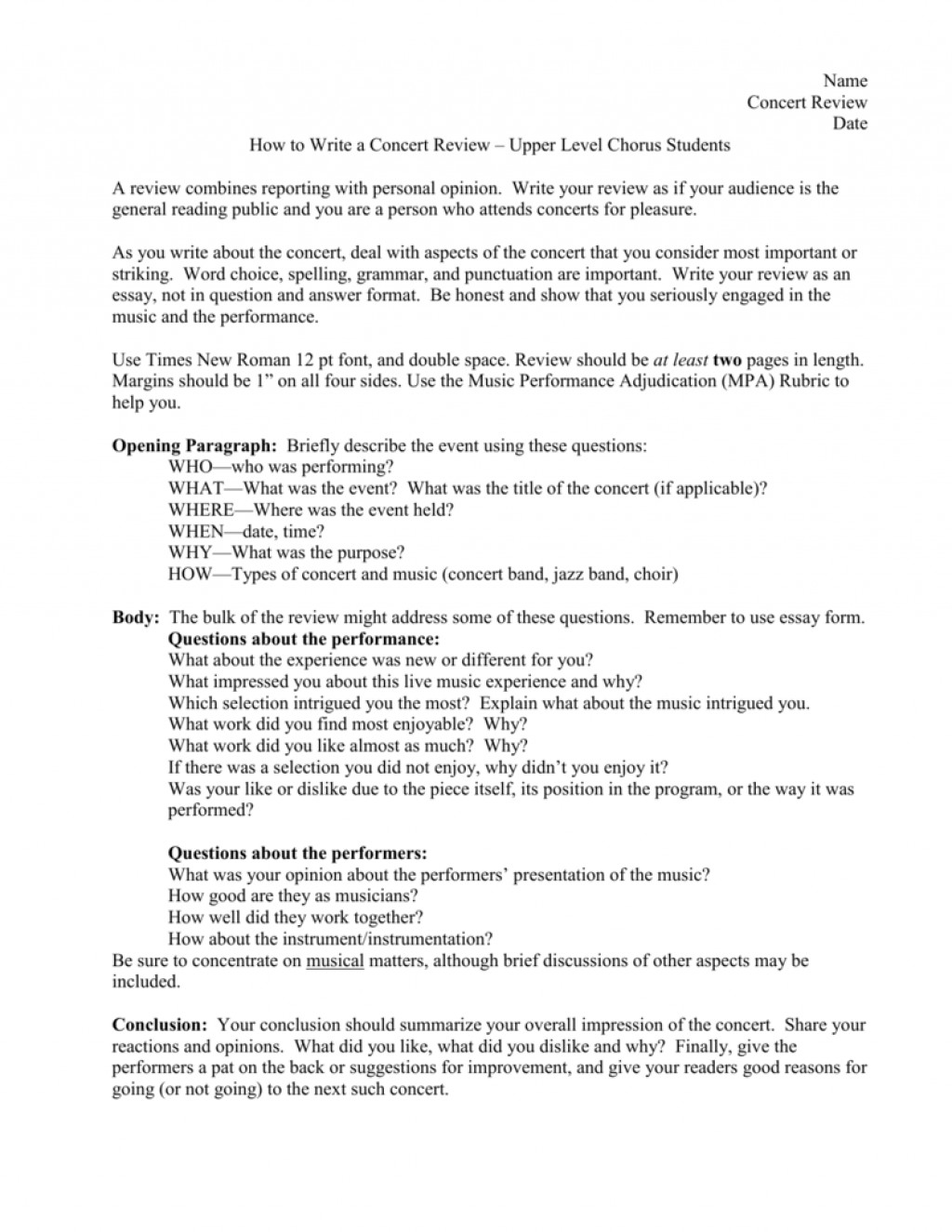 007 Essay Example Jazz Report Concert College Paper Academic Service Sample 008063356 1 Review Music Fascinating Appreciation Large