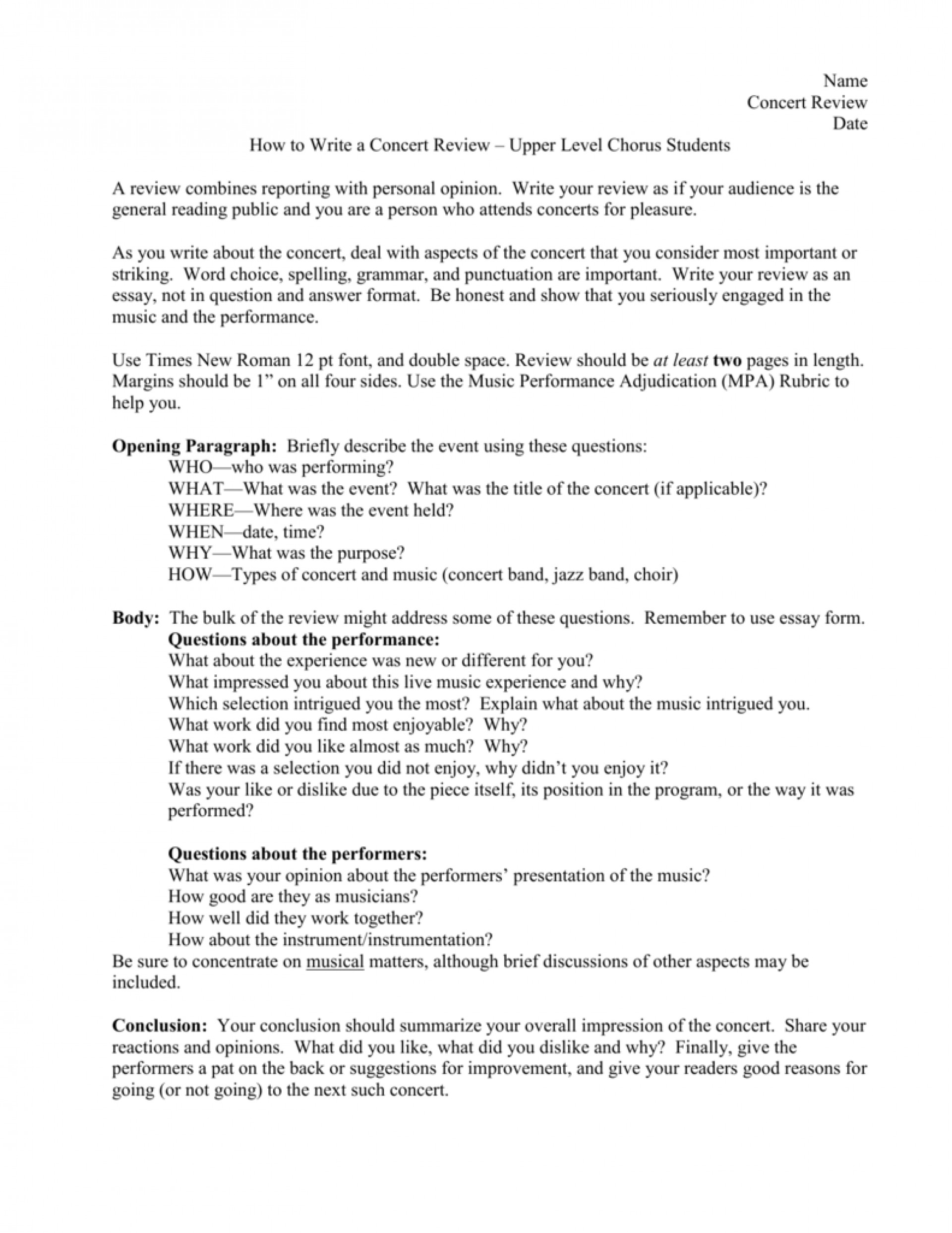 007 Essay Example Jazz Report Concert College Paper Academic Service Sample 008063356 1 Review Music Fascinating Appreciation 1920