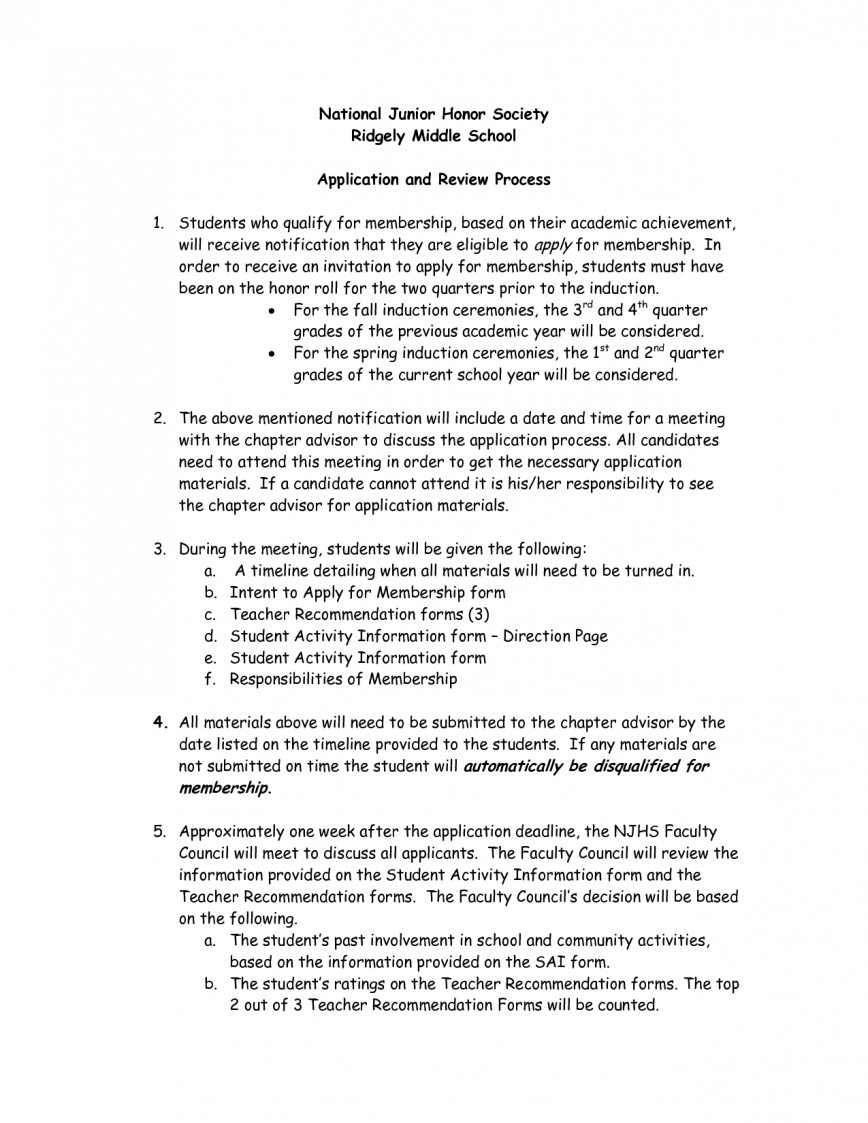 007 Essay Example Njhs Conclusion National Honors Society Examples Of Honor Junior Unique 868