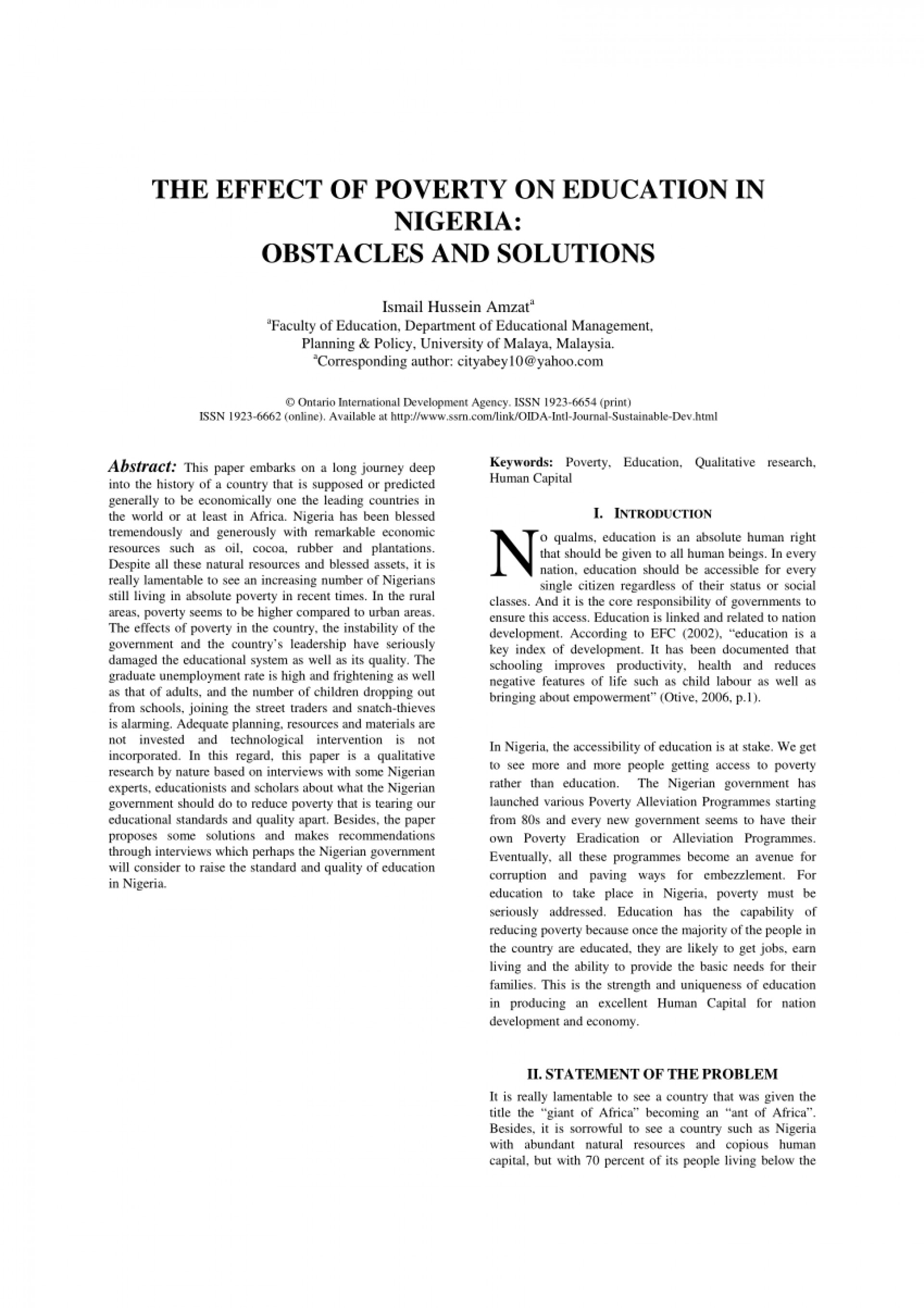 007 Essay Example Pdf The Effect Of Poverty On Education In Nigeria Obstacles And Is Best Weapon Against Largepr English Wondrous Problem India Solution 1920