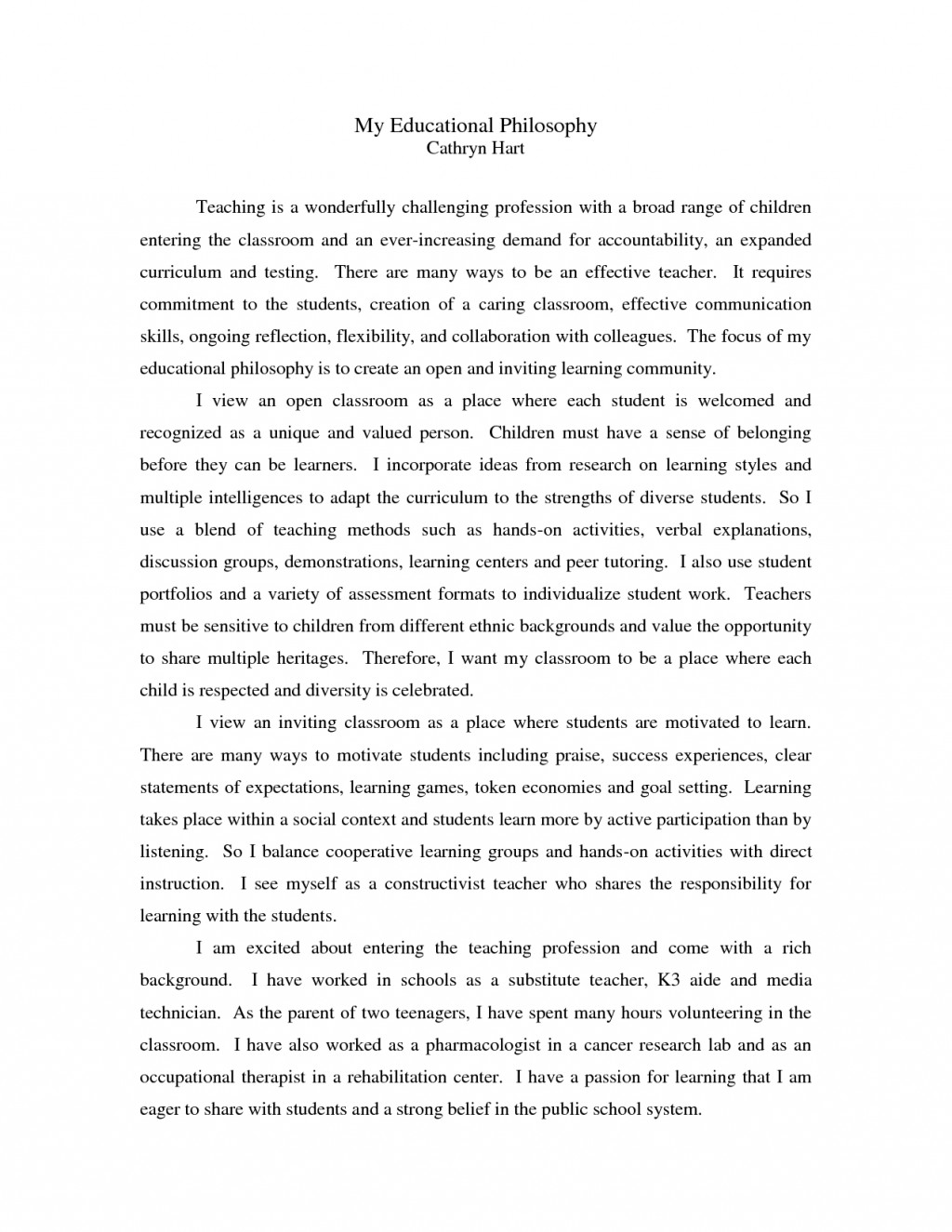 007 Essay Example Philosophy Of Teaching Dreaded My Personal And Learning Education Pdf Large