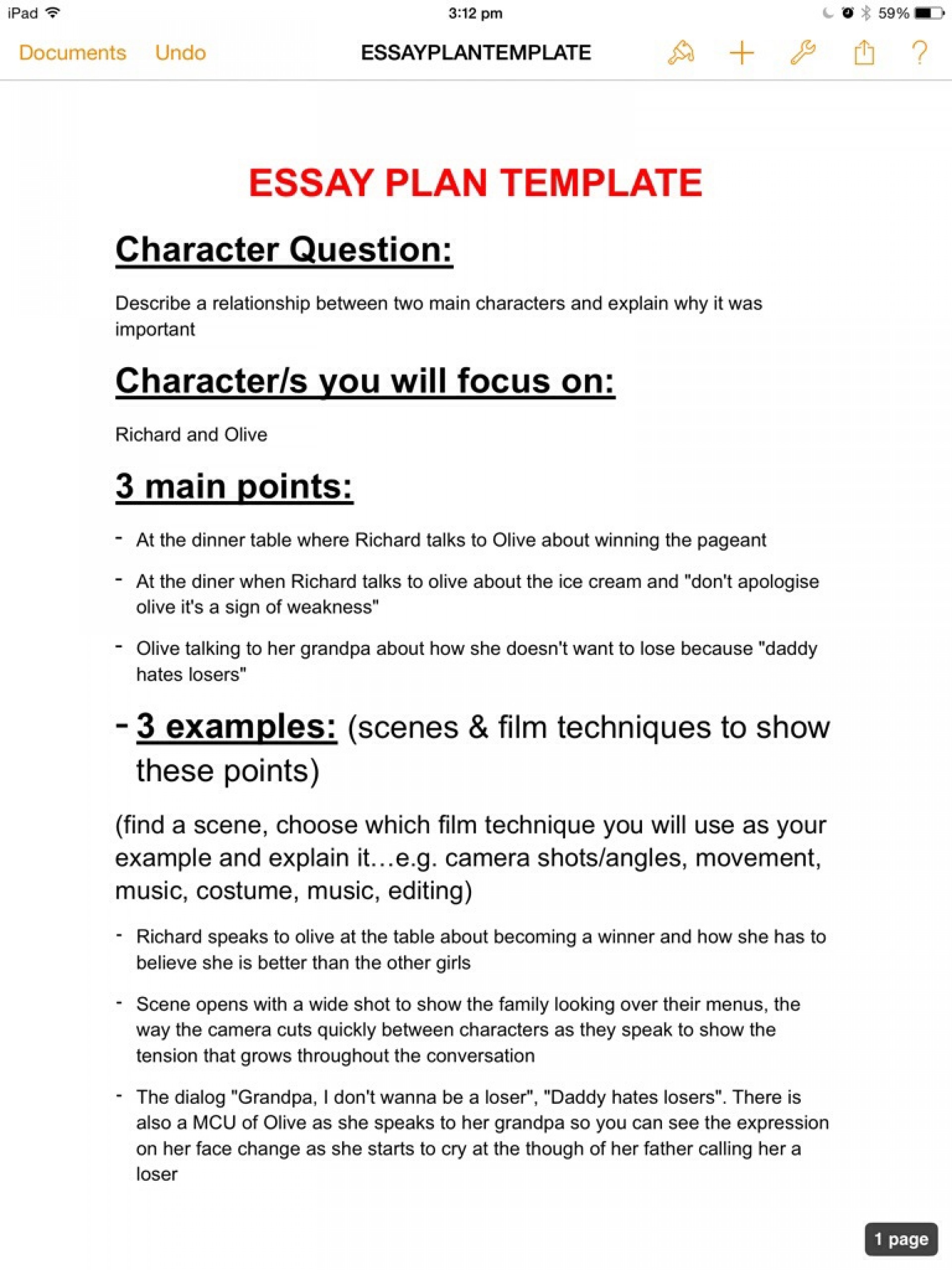 007 Essay Example Plan Stirring Template Word Planning Sheet Critical 1920