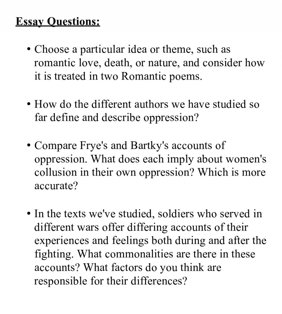 007 Essay Example Prompts Questions Best Topics For Lord Of The Flies High School Seniors Argumentative Frankenstein 960
