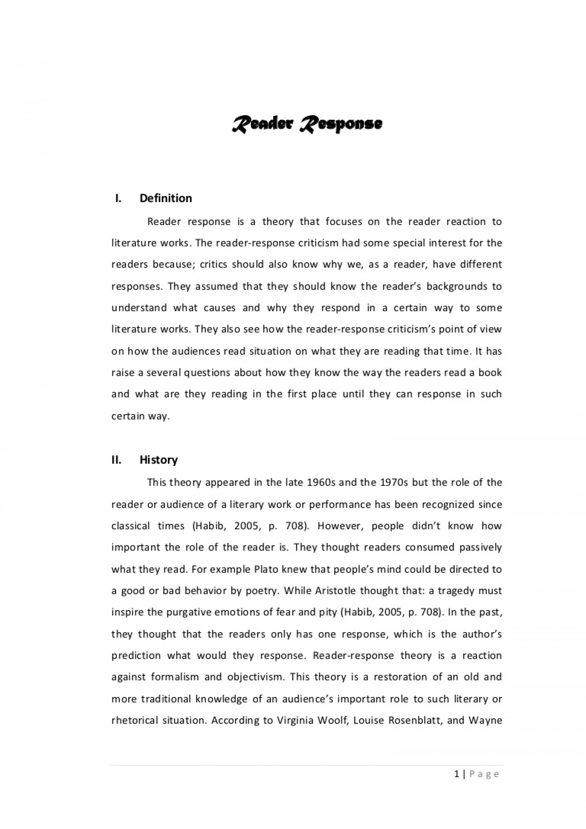 007 Essay Example Reader Amazing Response Assignment Examples On The Story Of An Hour 1920