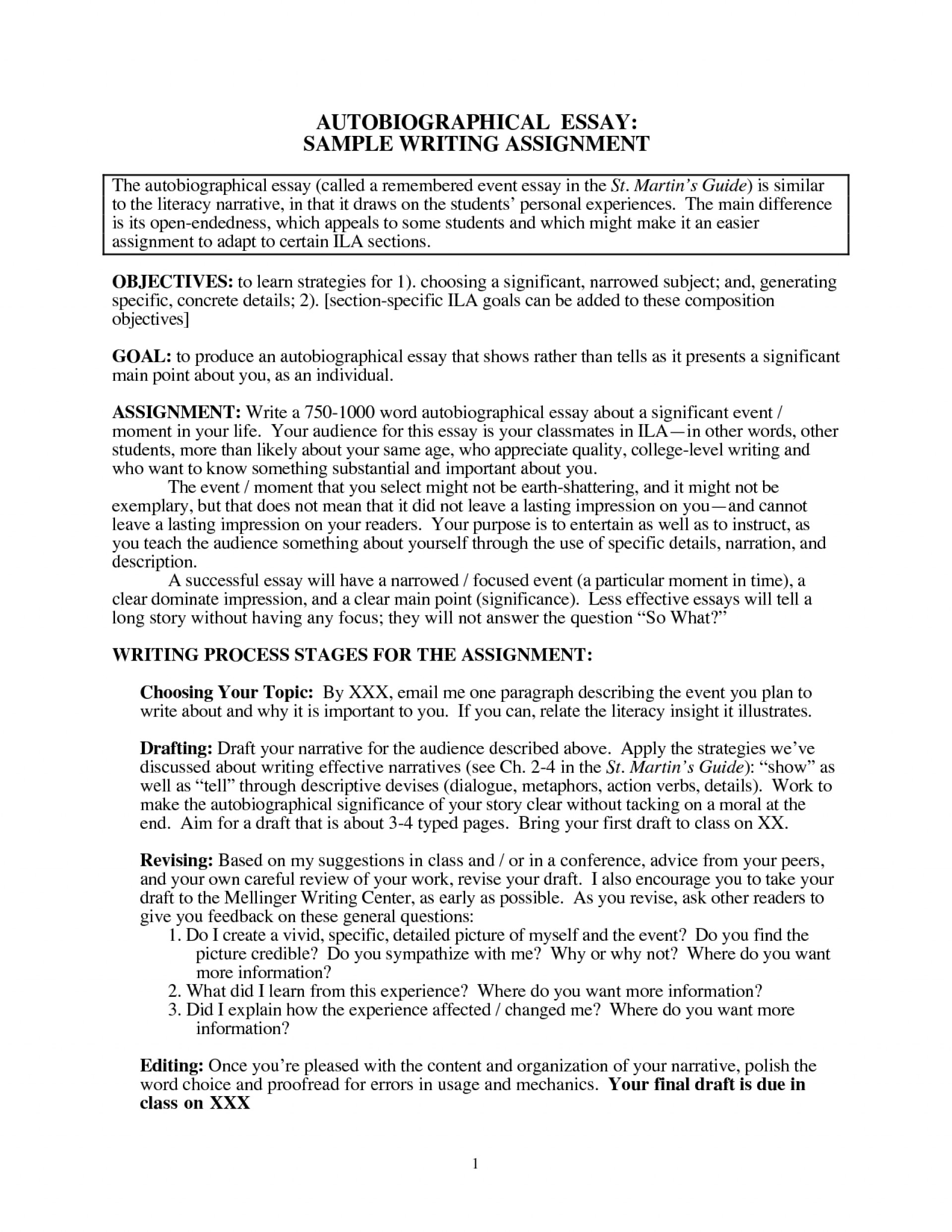 007 Essay Example Sample Autobiographic Sketch College Autobiography Knowing Imagine For Awesome How To Write Examples Good Incredible A Biographical Bibliography Biography About An Author Pdf 1920