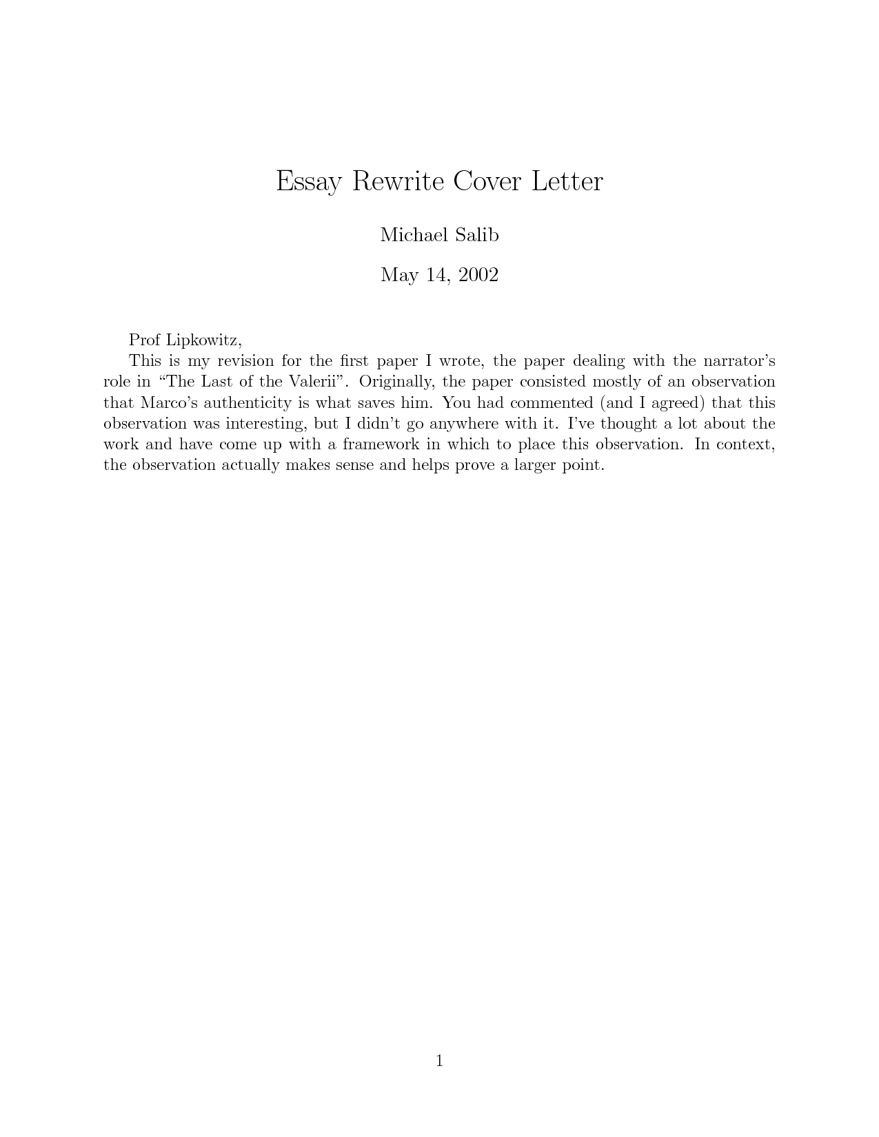 Cover letter for essays