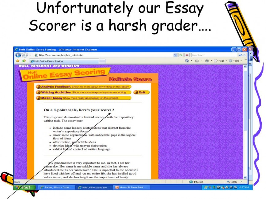 007 Essay Example Scorer Unfortunately Our Is Harsh Grader Impressive Score Sat 8 Free Perfect 868