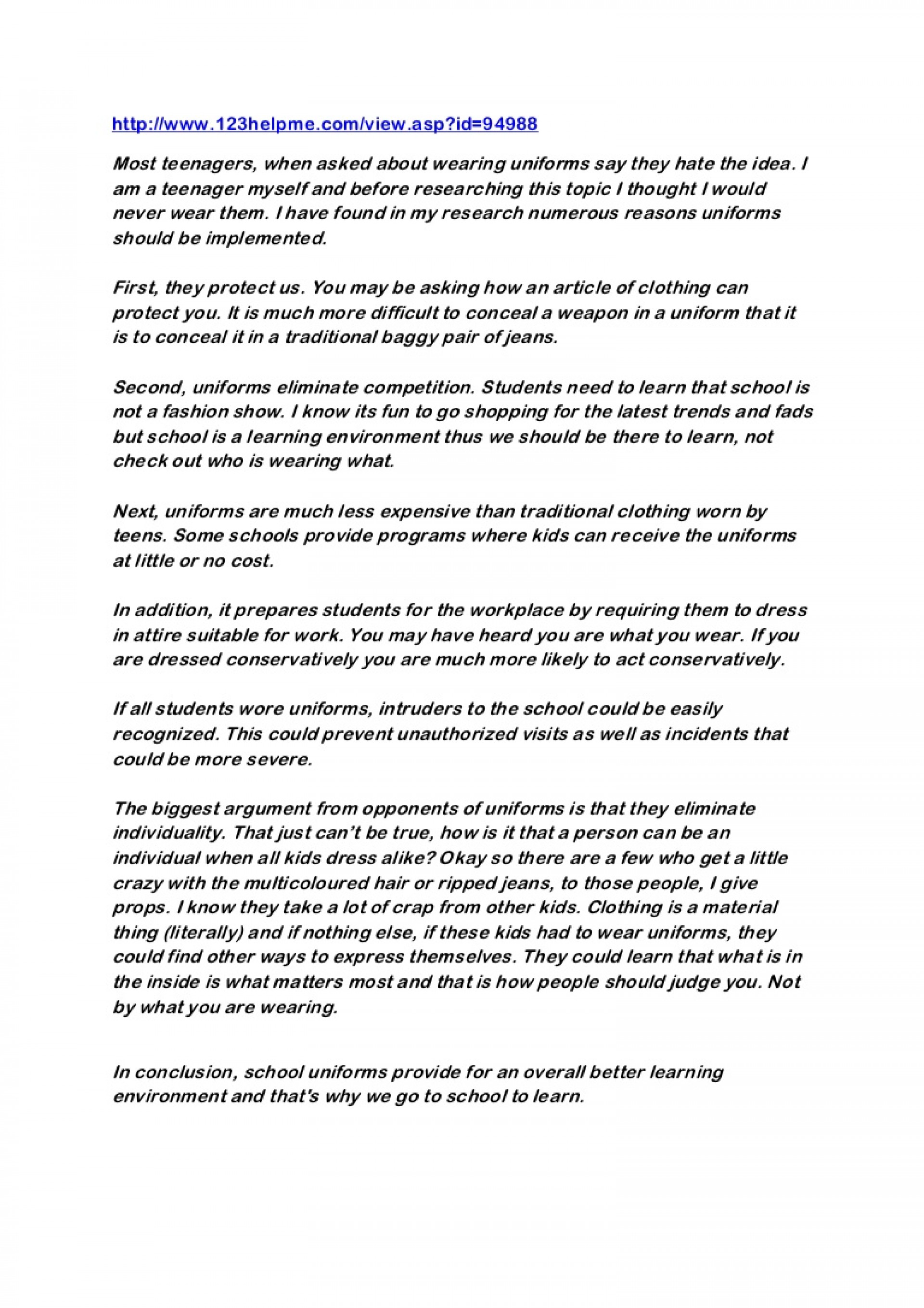 Uniforms Essay Persuasive Writing Examples on background information, introductory paragraph, intro paragraph, for kids, charter schools, college level, romeo juliet, about heights, elementary school,