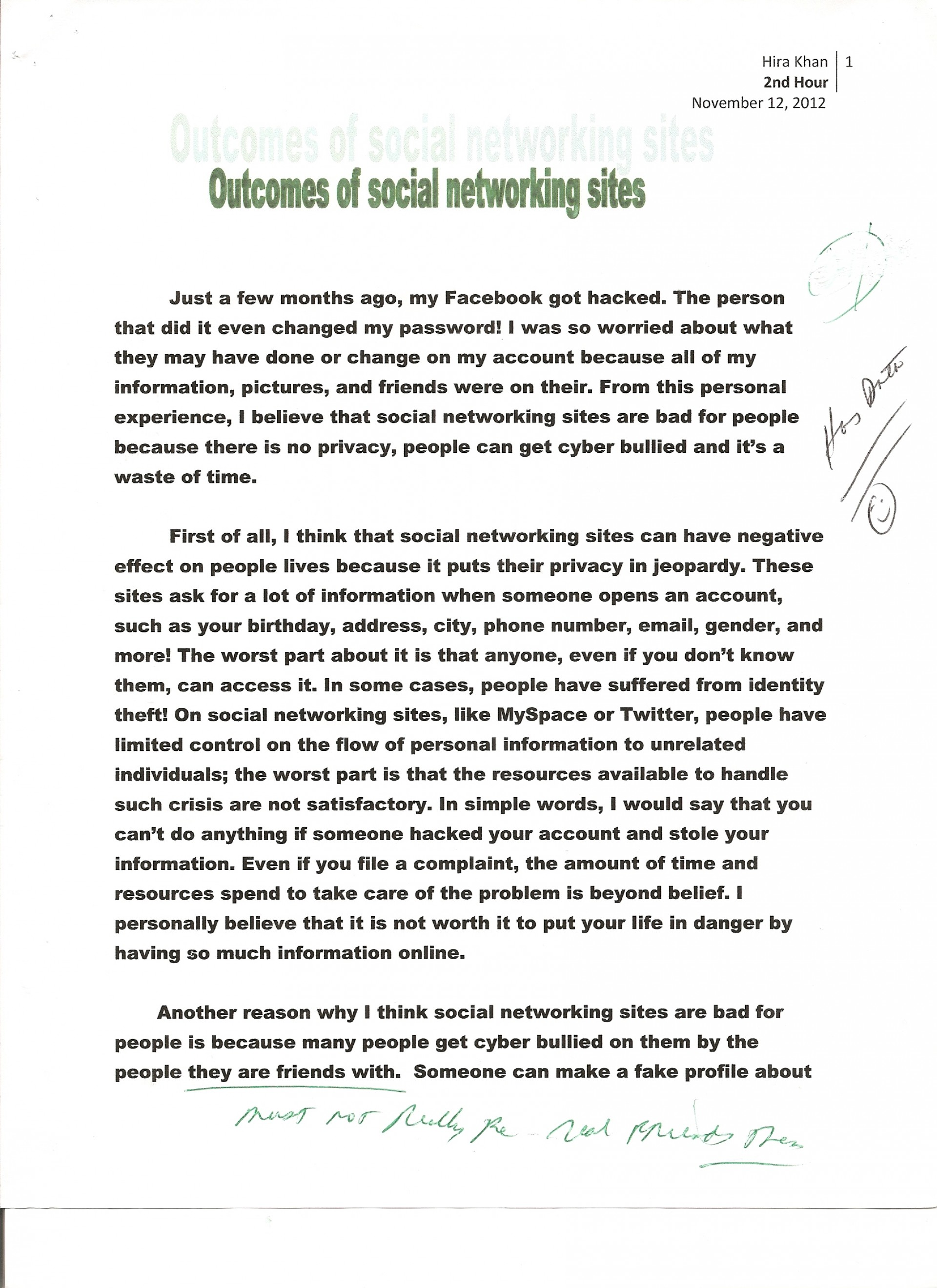 007 Essay Example Social Networking 1 Opinion About Fast Unbelievable Food Restaurants 1920