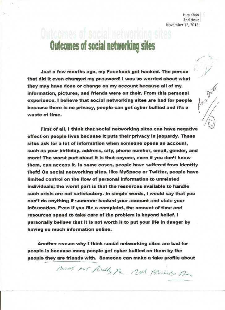007 Essay Example Social Networking 1 Opinion About Fast Unbelievable Food Restaurants 728