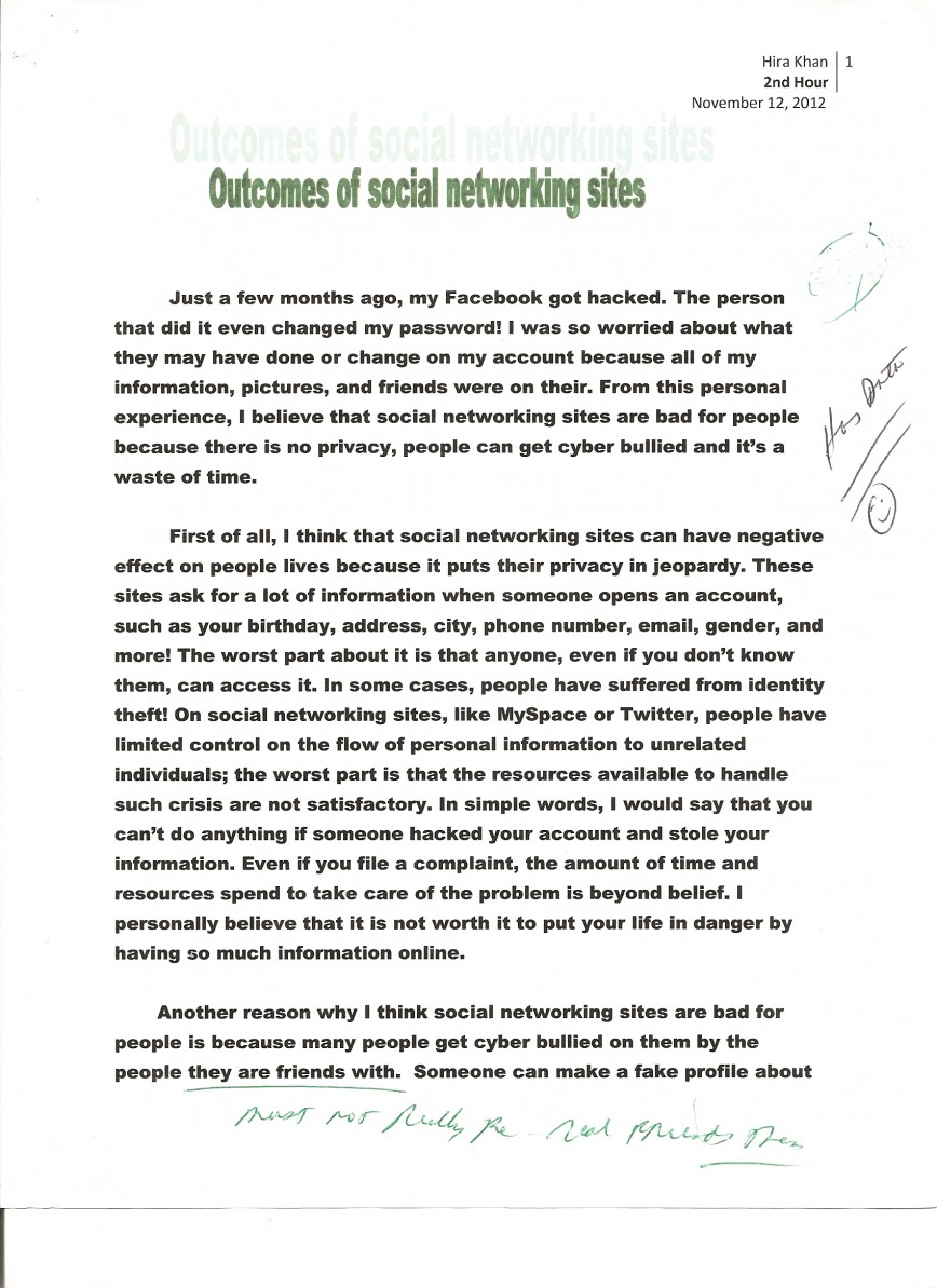 007 Essay Example Social Networking 1 Opinion About Fast Unbelievable Food Restaurants 868