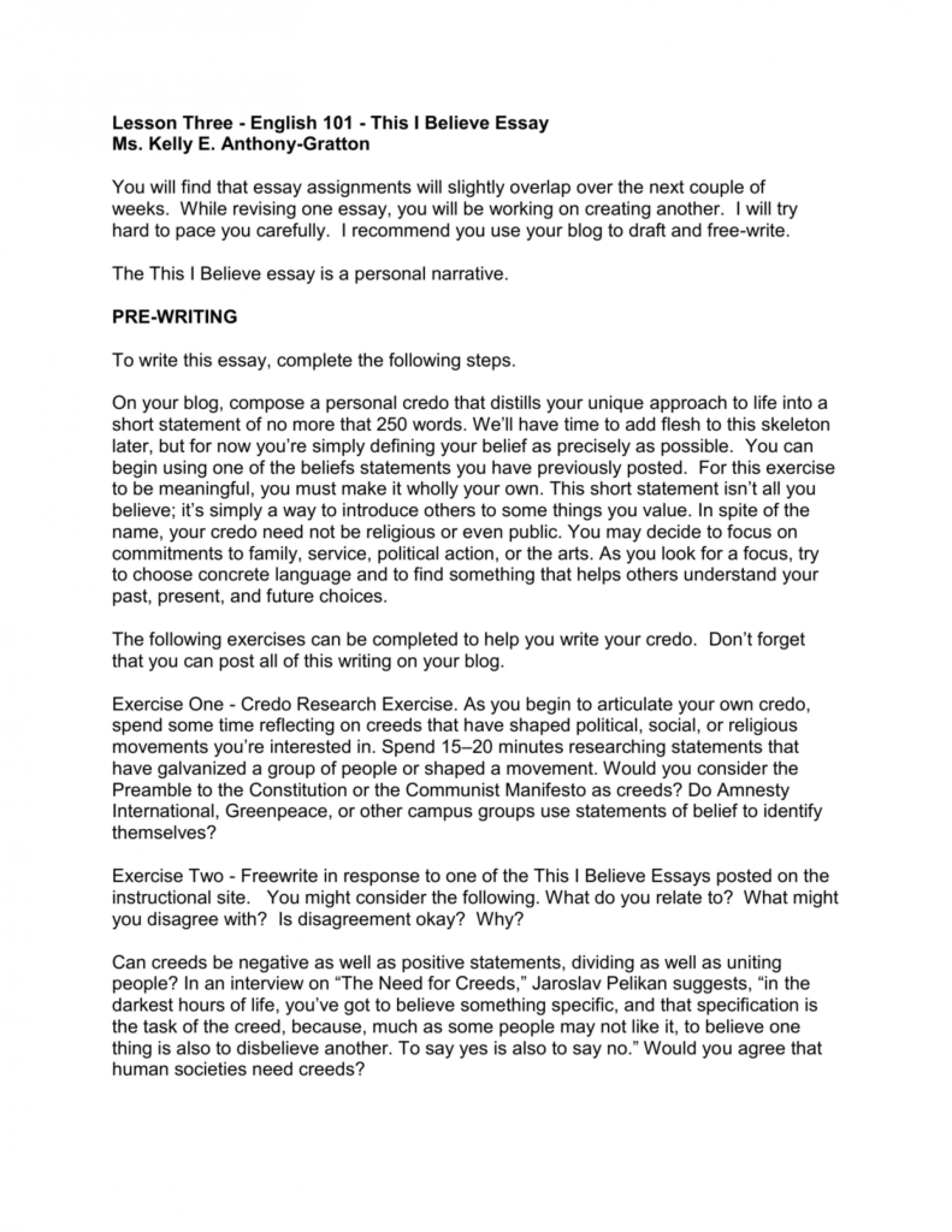 007 Essay Example This I Believe Examples 006667793 2 Stupendous Personal College 1920