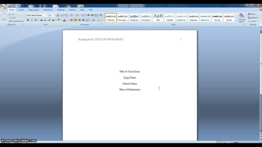 007 Essay Format Apa Example Fantastic Sample 500 Word Cover Page Large