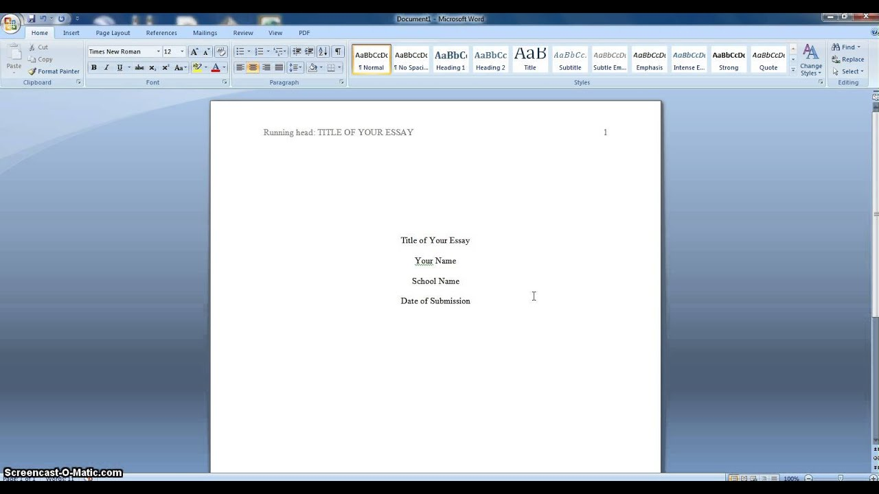 007 Essay Format Apa Example Fantastic Sample 500 Word Cover Page Full