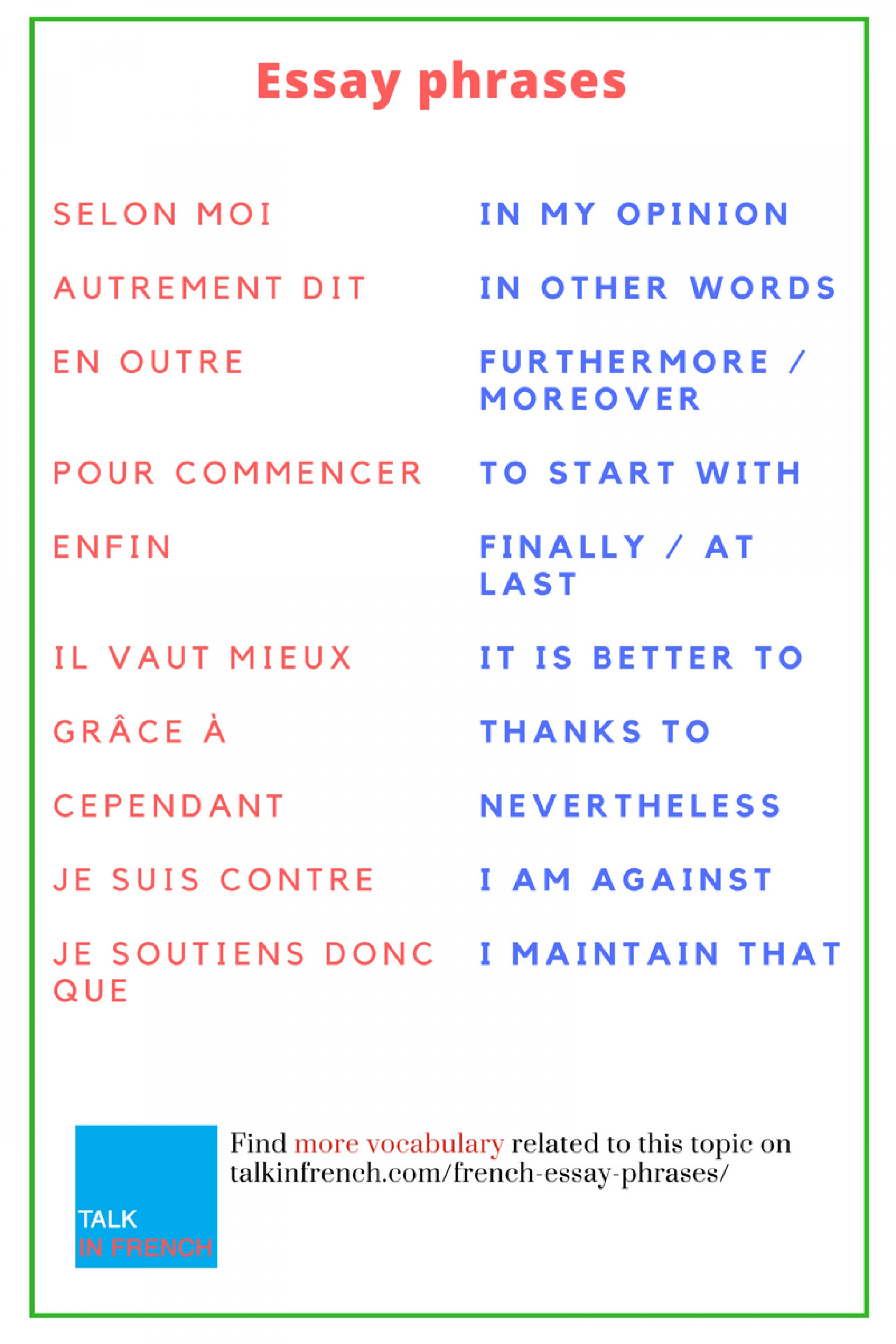 french essay topics for beginners